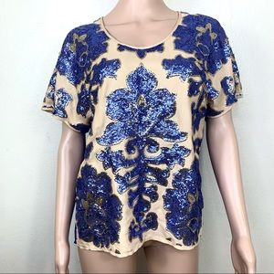 Tracy Reese Naiman Marcus top Blouse Blue Sz S
